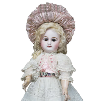"""22"""" (56cm) Wonderful Antique French Early Bisque Bebe Doll by Rabery & Delphieu, closed mouth, original dress, marked with block letter, c.1880"""