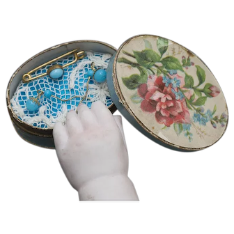 Antique Original Jumeau  Blue B e a d  Doll's Broch and Earrings in Box for small bebe or fashion poupee , c.1890