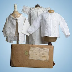 """Antique French Fashion Enfantine Original White Cotton Clothes - Chemise and 2 Blouses  for Jumeau, Steiner, Huret, Gaultier poupee about 17-18"""" tall"""