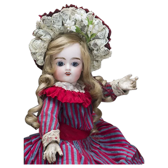 """14 1/2"""" (37cm) Very Pretty Antique French Bisque Bebe Doll by Pintel and Godchaux in original dress"""