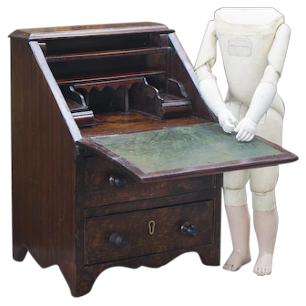 Antique French Doll-Sized Rosewood Slant-Front  Writing Desk for Fashion doll or Bebe
