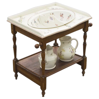 Rare Antique French Child Dressing Table with delicate pastel scenes of Kate Greenaway style children in a large variety of scenes