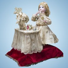 "22"" (56 cm.) Antique French All Original Musical Automaton Jumeau Bebe Doll at her dressing table by  Leopold Lambert, c.1890"