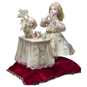 """22"""" (56 cm.) Antique French All Original Musical Automaton Jumeau Bebe Doll at her dressing table by  Leopold Lambert, c.1890"""