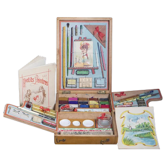 Very Rare French Child's Artist Menage in Elaborate Original Presentation Box from Paris Grand Magasins De La Tour St.Jacques, c.1900