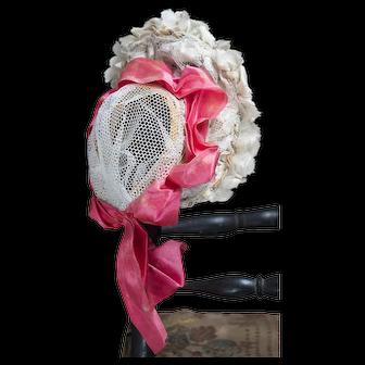Antique French Original Hat Bonnet for Fashion Doll Juneau Bru Huret Rohmer Gaultier and other poupee, c.1880
