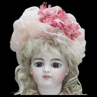 Very Beautiful  Antique French Pink Gauze silk Bonnet  for Jumeau Bru Steiner Gaultier Eden Bebe doll