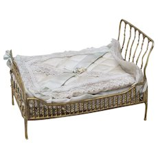 Amazing Antique German Dollhouse  Soft Metal Bed with original bed clothes, c.1900