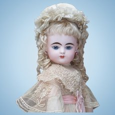 "20 1/2"" (52cm) Very Beautiful Antique French Bisque FG Scroll mark Closed Mouth Bebe doll in original costume"