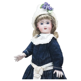 "24 1/2"" (62cm) Antique French Bisque Phenix Bebe doll by Henri Alexandre Jules Steiner in original costume"