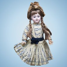 "22"" (56cm) Antique French Bisque Eden Bebe Doll with Deposed Mark and Highly-Characterized expression in Original dress"