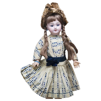 """22"""" (56cm) Antique French Bisque Eden Bebe Doll with Deposed Mark and Highly-Characterized expression in Original dress"""