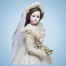 "23"" (58cm) Antique French Portrait Jumeau Fashion Poupee doll in original wedding gown and wooden box"