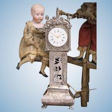 "9"" (22cm) Rare Antique French miniature doll longcase clock, XIX C."