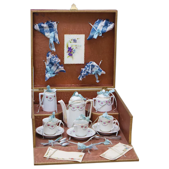Antique French Porcelain Tea Service Set for doll in Original Labeled Paris Box