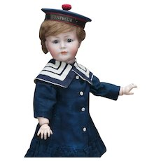 "20"" (51 cm.) Antique German Bisque Mein Liebling doll  K*R Simon & Halbig 117A  in Original Mariner costume"