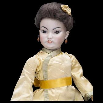 "15"" (38cm) Antique German Bisque Portrait of Asian Doll, model 1199 by Simon & Halbig in original costume"