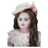 "29 1/2"" (75cm) Very Beautiful Antique French  Large Block Letter Doll Bebe by Rabery and Delphieu in original Dress"