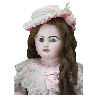 """29 1/2"""" (75cm) Very Beautiful Antique French  Large Block Letter Doll Bebe by Rabery and Delphieu in original Dress"""