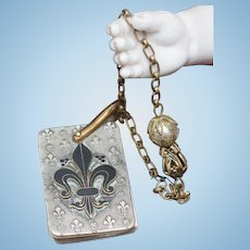 Antique French Royal Original Miniature Dance Card book Carnet de Bal  with Lily Symbol for Fashion doll Huret Rohmer Gaultier Jumeau Bru and other fashion poupee