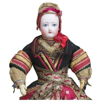 """13"""" (33cm) Antique All Original French Fashion Doll with Painted Eyes by Francois Gaultier in  Brittany Costume of Pont l'Abbe in Finistiere"""