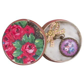 Rare Antique french faux-watch with hand painted pink enamel back and bow pin in store box for fashion doll or small bebe