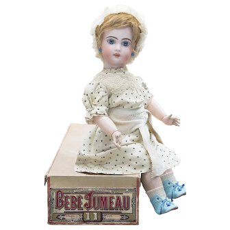 """24"""" (61cm) Antique 24 inch French Bisque Tete Jumeau Doll Marked X Size 11 in Original Jumeau Box"""