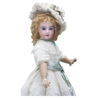 """26"""" (66cm) Antique French Bisque Doll Bebe Phonographe by Emile Jumeau with Lioret Mechanism, with antique dress and Jumeau Shoes"""