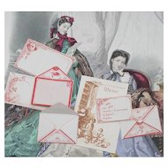 Rare Antique Original Fashion doll correspondence, envelopes, letter-papers, Menu, - 7 pieces, excellent condition, Paris, c.1880 for enfantine doll Huret Jumeau Barrois Rohmer Gaultier
