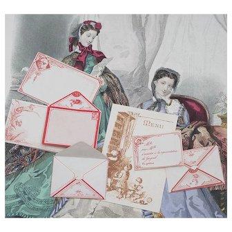 Rare Antique Original Fashion doll correspondence, envelopes, letter-papers, Menu, - 7 pieces, excellent condition, Paris, c.1880 for enfantine doll Huret Jumeau Barrois Rohmer Gaultier