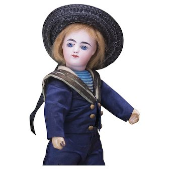 """8 1/2"""" (22cm) Rare Antique All original Tiny Francois Gaultier doll in Mariner costume, marked FG block letters, c.1880-1890"""