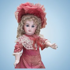 "20 1/2"" (53cm) Very Beautiful Antique French Bisque Bebe Jumeau Doll  with closed mouth, Size 9  in original costume, c.1885"