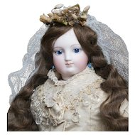 "17 1/2"" (45cm) Early Antique French Bisque Poupee Fashion Doll by Barrois in fine original Bridal Costume"
