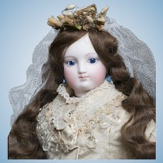 """17 1/2"""" (45cm) Early Antique French Bisque Poupee Fashion Doll by Barrois in fine original Bridal Costume"""