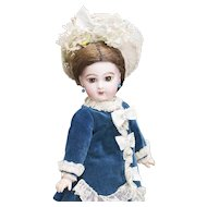 "11"" (28cm) Antique French Dainty Bisque Tiny Small Brown-Eyed Jumeau Bebe E.J. doll, size 3"