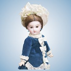 """11"""" (28cm) Antique French Dainty Bisque Tiny Small Brown-Eyed Jumeau Bebe E.J. doll, size 3"""