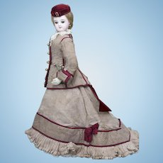 19in (48cm) Antique French Bisque Portrait Face Jumeau Fashion Poupee Doll with Superb Original Costume