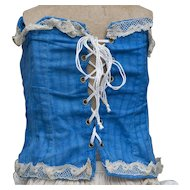 Antique Original French Factory Blue Cotton Corset Stay for Jumeau Bru  Gaultier Steiner Eden bebe  doll