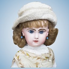 "28"" (71 cm.) Lovely Large Antique French Blue-eyed Bebe Reclame Doll size 13,  by Emile Jumeau with closed mouth"