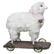 "7"" (17cm) Vintage Lamb Pull Toy on a Platform in excellent condition"