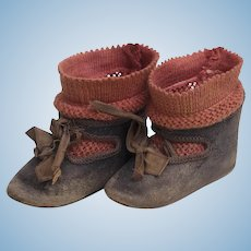 Antique French Original  Size 8  Beautiful Doll Shoes marked Bebe Jumeau Depose 8 and  Factory Socks