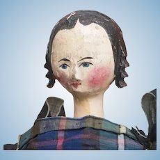 "12"" (30cm) Antique German Grodnertal Wooden Lady Doll with Rare Red  Painted Torso, c.1830"