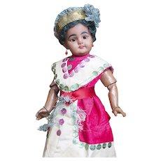 "11"" (28cm) Rare Antique German Brown-complexion Tiny Bisque Doll, model 739 DEP, by Simon & Halbig"