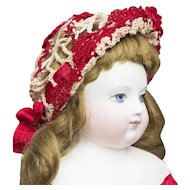 RARE Antique French Original Crocheted Net Cap Bonnet Hat Snood for fashion Doll, circa 1870