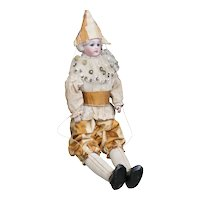 """14 1/2"""" (37cm) Rare Antique All Original Bisque Polichinelle Doll  by Simon&Halbig, for French market"""