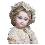 "18"" (46 cm.) Antique French Bisque bebe Doll by Emile Jumeau in Original dress"