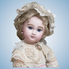 """18"""" (46 cm.) Antique French Bisque bebe Doll by Emile Jumeau in Original dress"""