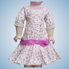 "Wonderful Antique Original  Pink Printed Flowers Dress for Jumeau Bru Steiner Eden Bebe doll about 18-19"" (46-48 cm)"