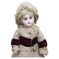 "17"" (43cm) Wonderful Antique French Bisque Bebe Doll by Jumeau Bebe size 7 in amazing original  costume"