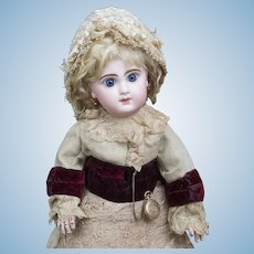 """17"""" (43cm) Wonderful Antique French Bisque Bebe Doll by Jumeau Bebe size 7 in amazing original  costume"""